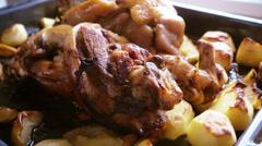 Roast pork knuckle Stock Footage