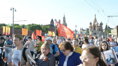 Immortal Regiment in Moscow Stock Footage