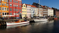 Time Lapse of Scenic Nyhavn District Day  - Copenhagen Denmark Stock Footage