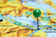 Korinthos pinned on a map of Greece Stock Photos