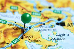 Argos pinned on a map of Greece Stock Photos