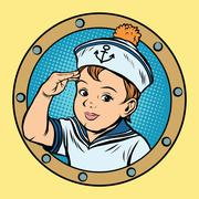 Child sailor ship kids game retro vector - stock illustration