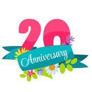 Cute Template 20 Years Anniversary Sign Vector Illustration - stock illustration