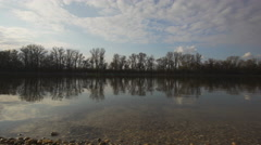 Smooth water surface, Danube riverbank, Hungary Stock Footage