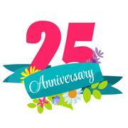 Cute Template 25 Years Anniversary Sign Vector Illustration Stock Illustration