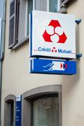 """credit mutuel"" french bank signage Stock Photos"
