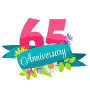 Cute Template 65 Years Anniversary Sign Vector Illustration - stock illustration