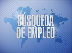 job search world map sign in Spanish - stock illustration
