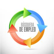 job search cycle sign in Spanish - stock illustration