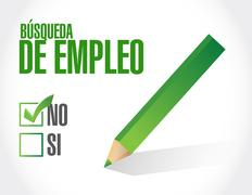 no job search approval sign in Spanish - stock illustration