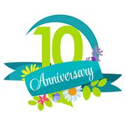 Cute Nature Flower Template 10 Years Anniversary Sign Vector Ill Stock Illustration