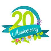 Cute Nature Flower Template 20 Years Anniversary Sign Vector Ill Stock Illustration
