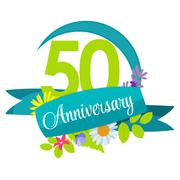 Cute Nature Flower Template 50 Years Anniversary Sign Vector Ill - stock illustration