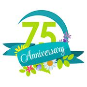 Cute Nature Flower Template 75 Years Anniversary Sign Vector Ill - stock illustration