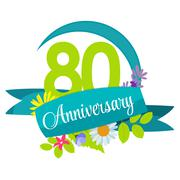 Cute Nature Flower Template 80 Years Anniversary Sign Vector Ill - stock illustration