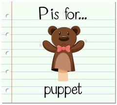 Flashcard letter P is for puppet - stock illustration