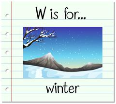 Flashcard letter W is for winter - stock illustration