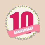 Cute Template 10 Years Anniversary Sign Vector Illustration - stock illustration