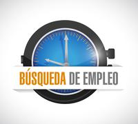 job search watch sign concept in Spanish - stock illustration