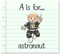 Flashcard letter A is for astronaut - stock illustration