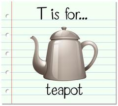 Flashcard letter T is for teapot Stock Illustration
