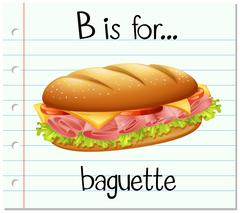 Flashcard letter  B is for baguette Stock Illustration
