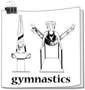 Doodle of people doing gymnastics - stock illustration