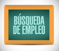 job search chalkboard sign in Spanish concept - stock illustration