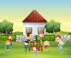 Children play music chair in the yard - stock illustration