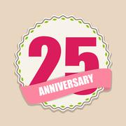 Cute Template 25 Years Anniversary Sign Vector Illustration - stock illustration