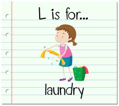 Flashcard letter L is for laundry Stock Illustration