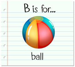Flashcard letter B is for ball - stock illustration