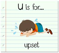 Flashcard letter U is for upset - stock illustration