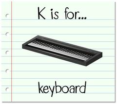 Flashcard letter K is for keyboard - stock illustration