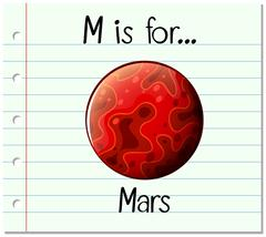 Flashcard letter M is for mars Piirros