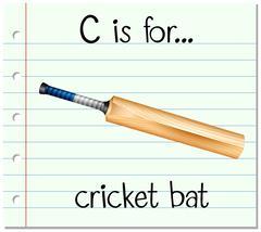 Flashcard letter C is for cricket bat - stock illustration