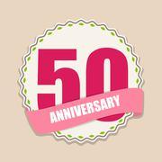 Cute Template 50 Years Anniversary Sign Vector Illustration - stock illustration