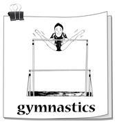 Card with woman doing gymnastics - stock illustration