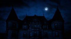 Gothic Mansion House At Night Stock Footage