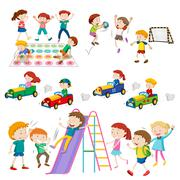 Children playing games and sports - stock illustration
