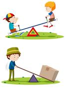 Boys playing seesaw and man lifting box with beam - stock illustration