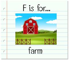 Flashcard letter F is for farm Stock Illustration