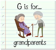 Flashcard letter G is for grandparents - stock illustration
