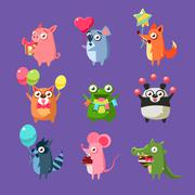 Animals At Birthday Party - stock illustration
