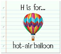 Flashcard letter H is for hot-air balloon Piirros