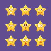 Golden Star Emoji Character Set - stock illustration