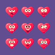 Pink Heart Emoji Character Set Stock Illustration