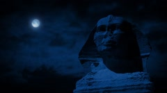 The Sphinx Statue At Night With Moon - stock footage
