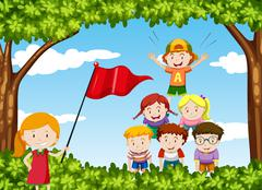 Children play human pyramid in the park Stock Illustration
