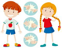 Kids playing rock scissors paper - stock illustration